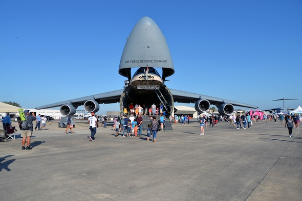 An Air Force Reserve Command C-5M Super Galaxy assigned to the 433rd Airlift Wing at Joint Base San Antonio-Lackland, Texas sits on display at the Wings Over Houston Airshow at Ellington Airport, Houston Oct. 19, 2019.