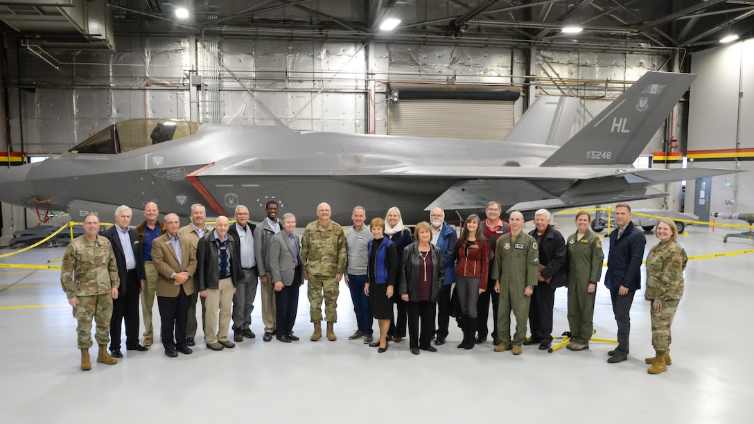 Community leaders from around the country gather for a group photo with Gen. Arnold W. Bunch, Jr., commander for Air Force Material Command, and other Air Force leaders during a base visit Oct. 21, 2019, at Hill Air Force Base, Utah. The community leaders are members of the command's Civic Leader Program, and meet twice annually to hear updates on AFMC and Air Force issues. (U.S. Air Force photo by Cynthia Griggs)