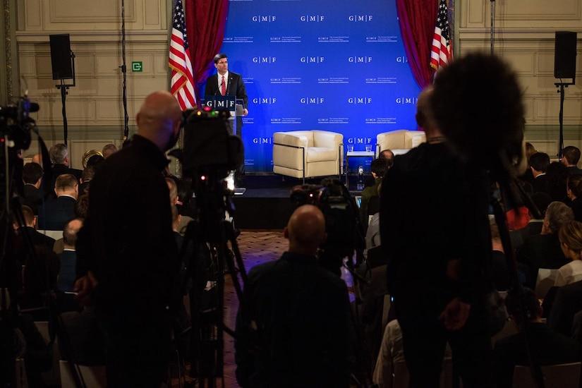 Defense Secretary Dr. Mark T. Esper  speaks to a crowd.