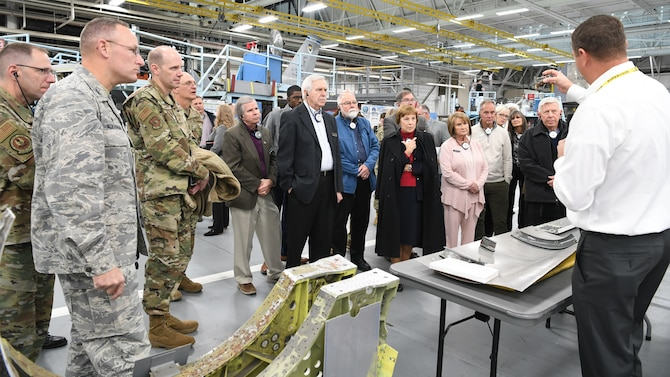 Community leaders from around the country tour the Ogden Air Logistics Complex during a base visit Oct. 21, 2019, at Hill Air Force Base, Utah. The group visited Hill as part of Air Force Materiel Command's Civic Leader Program. The CLP members meet twice annually to hear updates on AFMC and Air Force issues. (U.S. Air Force photo by Cynthia Griggs)