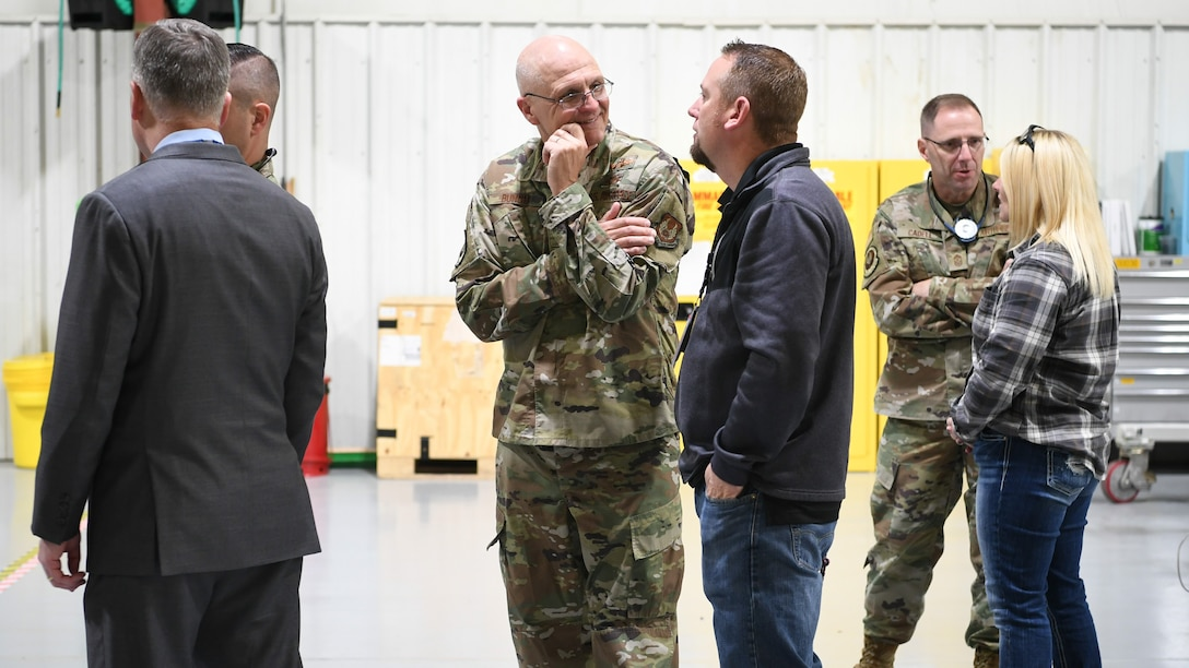 Gen. Arnold W. Bunch, Jr., commander for Air Force Material Command, visits with workers from the Ogden Air Logistics Complex, during a base visit Oct. 22, 2019, at Hill Air Force Base, Utah. The general and community leaders from around the country visited Hill as part of the command's Civic Leader Program. The CLP members meet twice annually to hear updates on AFMC and Air Force issues. (U.S. Air Force photo by Cynthia Griggs)