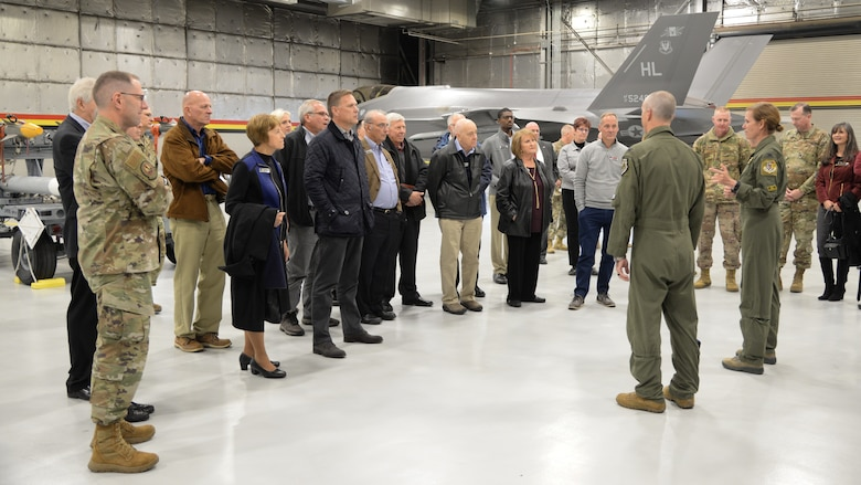 Community leaders from around the country during a base visit Oct. 21, 2019, at Hill Air Force Base, Utah. The group visited Hill as part of Air Force Materiel Command's Civic Leader Program. The CLP members meet twice annually to hear updates on AFMC and Air Force issues. (U.S. Air Force photo by Cynthia Griggs)