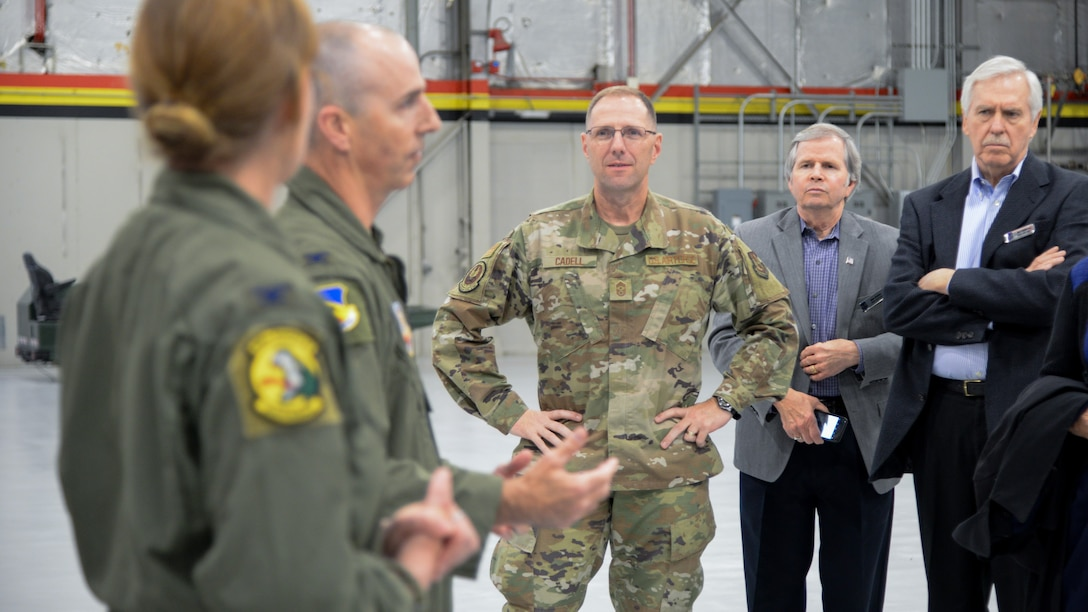 Chief Master Sgt. Stanley C. Cadell, command chief for Air Force Materiel Command, during a base visit Oct. 21, 2019, at Hill Air Force Base, Utah. Cadell, Gen. Arnold W. Bunch, Jr., commander for AFMC, and community leaders from around the country visited Hill as part of the command's Civic Leader Program. The CLP members meet twice annually to hear updates on AFMC and Air Force issues. (U.S. Air Force photo by Cynthia Griggs)
