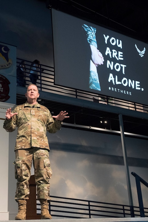 Lt. Gen. Richard W. Scobee, Commander, Air Force Reserve Command, briefs about the importance of seeking mental health help during a resiliency briefing at the Museum of Aviation, Warner Robins, Georgia, Sept 3, 2019. (U.S. Air Force photo by MSgt Stephen D. Schester)