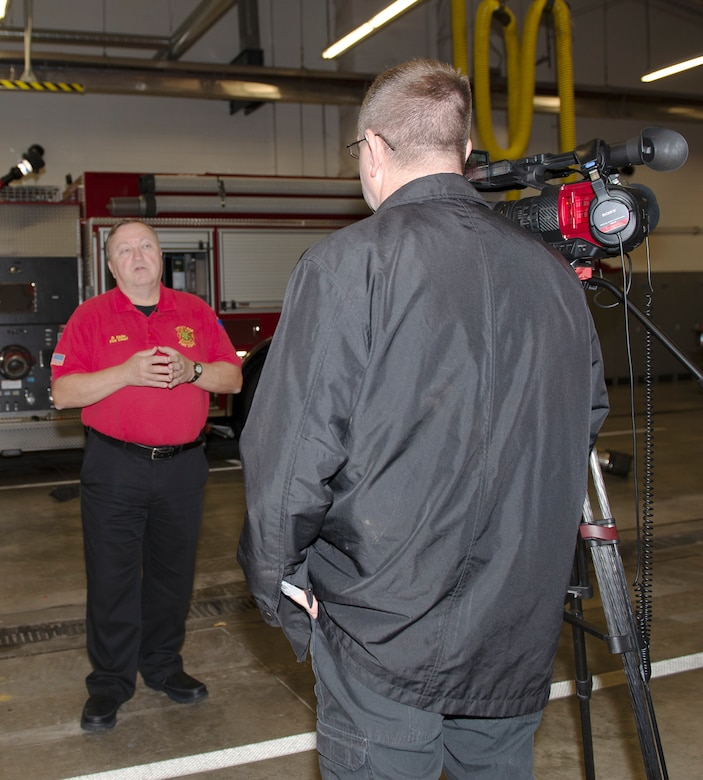 Fire Chief David Eblin, Offutt Air Force Base Fire Department, answers questions during an interview Oct. 7, 2019, at Bellevue Fire Department District 4 Bellevue, Nebraska. The city of Bellevue and its fire department offered their fire station at District 4, which had the available space for Station 2 crew members. This allowed Offutt AFB Station 2 firefighters the ability to provide reasonable response times to their area of responsibility, which includes three schools and other government structures. The renovation began earlier this year and is scheduled to be completed in March 2020.