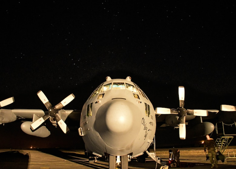 A C-130H3 Hercules from Dobbins Air Reserve Base, Georgia, sits under the stars following a Night Tactical Air-Land mission during Exercise Real Thaw 2019 at Beja Air Base, Portugal, Oct. 2, 2019. Real Thaw is a Portuguese-led large joint and combined force exercise held annually where Dobbins provided aerial support. (U.S. Air Force photo/Senior Airman Josh Kincaid)