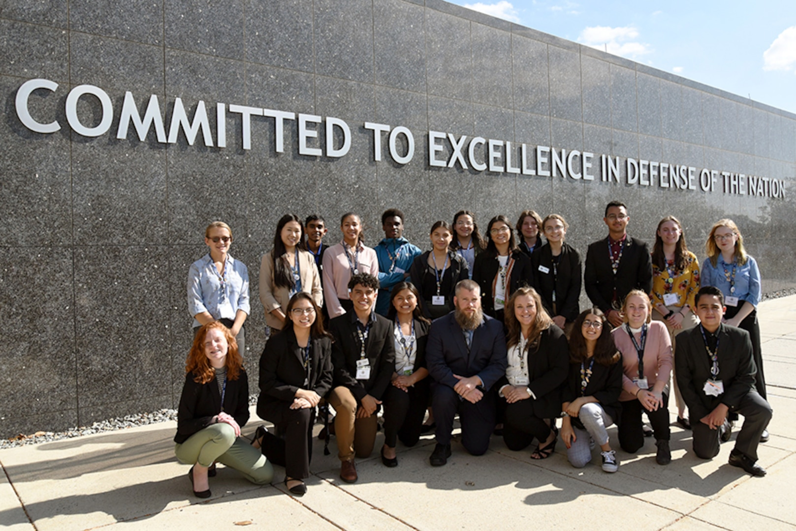 Chief Science Officers pose outside of Defense Intelligence Agency Headquarters after a daylong visit and learning how DIA uses STEM in various career fields, Oct. 9. CSOs are leaders in their communities and ambassadors for science, technology, engineering and mathematics.
