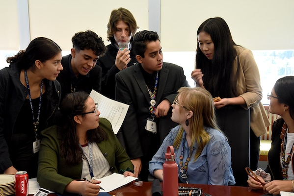 Students from the Chief Science Officers Program participate in a social media exercise at Defense Intelligence Agency Headquarters, Oct. 9. CSOs are leaders in their communities and ambassadors for science, technology, engineering and mathematics.