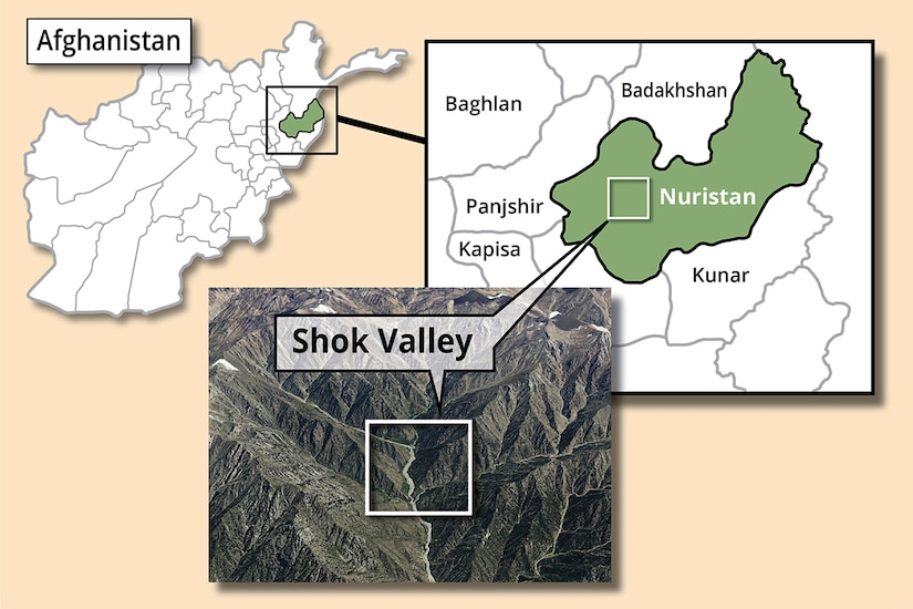 A map of Afghanistan, with a second map zoomed in on the Nuristan Province. A third image zooms in on Shok Valley.