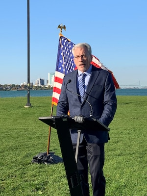 Carl A. Platz, Great Lakes program manager, U.S. Army Corps of Engineers Great Lakes and Ohio River Division, was given the opportunity to speak at EPA Administrator Wheeler's unveiling of GLRI Action Plan III October 2019.