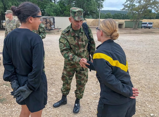 Argemiro Posso Rivera, Colombian Military Senior Enlisted Advisor to the Joint Chiefs of Staff, visits with U.S. Army Soldiers participating in Combat Medic Training at Joint Base San Antonio-Camp Bullis Oct. 24.