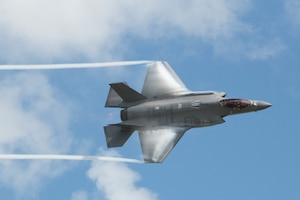F-35 Lightning II Demonstration Team pilot performs maneuvers