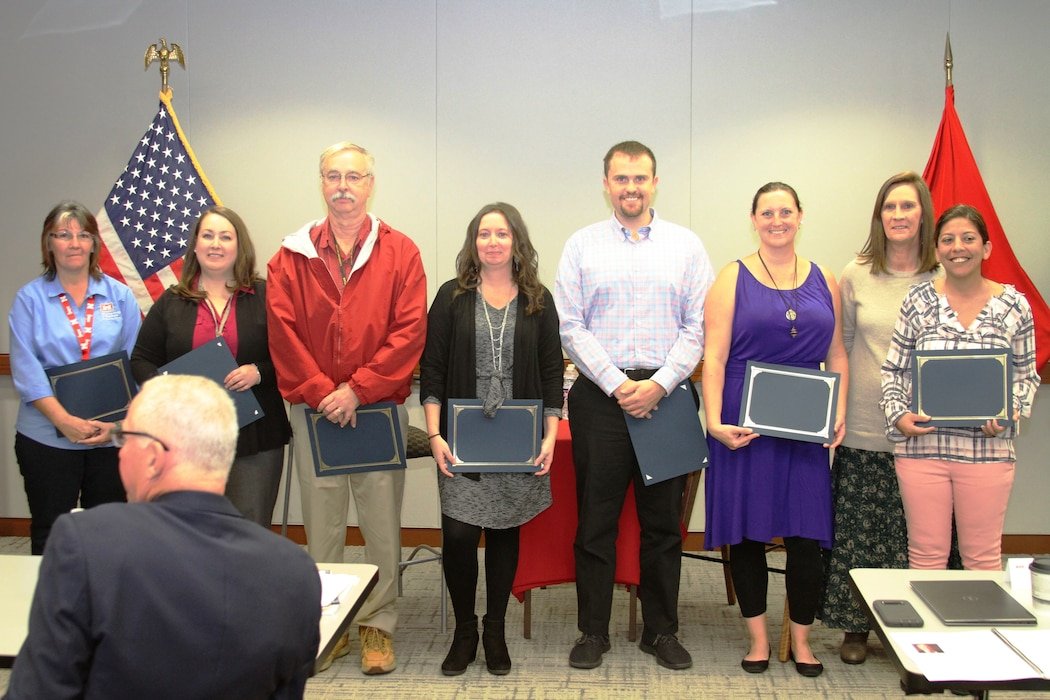 Kansas City District Contracting Division personnel were presented with a certificate of recognition by leadership for helping set up Contracting Fall Training October 22, 2019. Left to right – Jeri Halterman, Heather Scott, John Hendrix, Stephanie Kretzer, Zach Goodman, Sarah Moppin, Cheryl Colbert and Jo McCue.