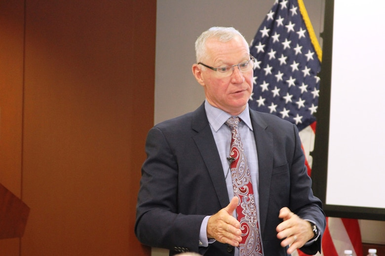 Stuart Hazlett, Deputy Assistant Secretary of the Army (Procurement), who led a spirited session at the USACE Kansas City District Fall Training on how contracting professionals can help our Army win our nation's wars. Hazlett prominently featured readiness, modernization and reform as the key areas to concentrate on during his session October 22, 2019.