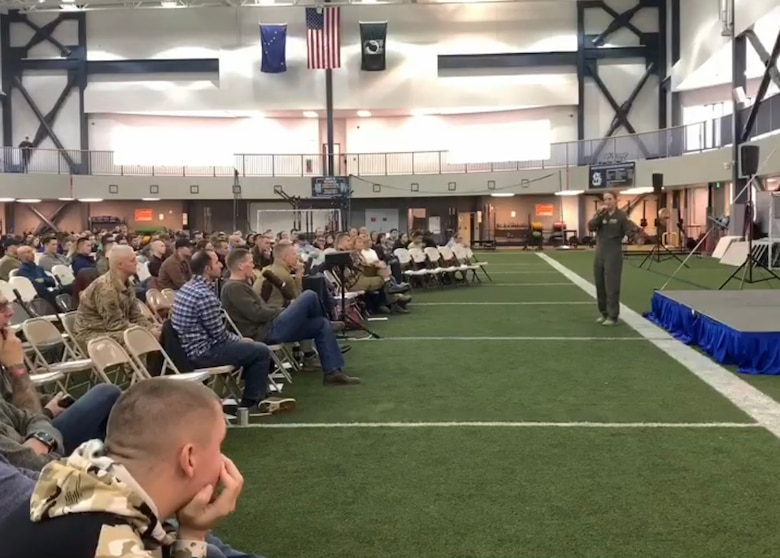 U.S. Air Force Capt. (Dr.) Regan Stiegmann, U.S. Air Force Academy performance medicine and lifestyle medicine physician, addresses the crowd during a resiliency day event at Eielson Air Force Base, Alaska, Oct. 18, 2019.