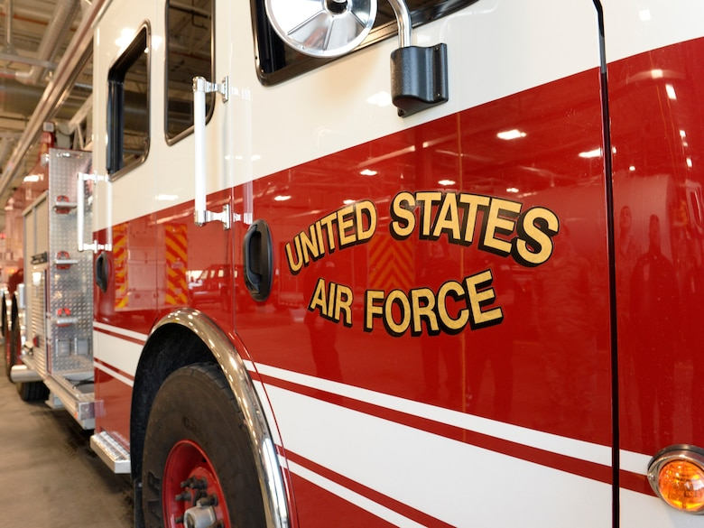 "Truck 101 sits in a stall at Fire Station 1 following a ""wet/wash down and push in"" ceremony Oct. 24, 2019, at Hill Air Force Base, Utah. The custom dates back to the 1800s when fire engines were pulled by horses. (U.S. Air Force photo by David Perry)"