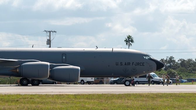 Aircrew members run toward a KC-135 Stratotanker during an operational readiness exercise (ORE) Oct. 24, 2019, at MacDill Air Force Base, Fla. The 6th Air Refueling Wing conducted the ORE to ensure proficiency and response times of various units on base during a simulated alert scenario.
