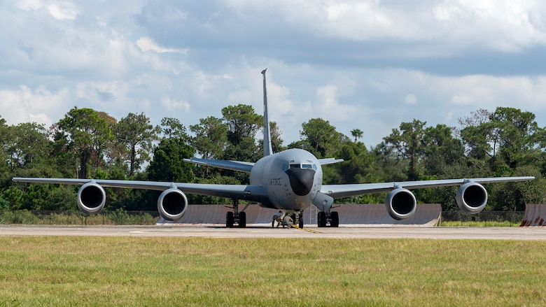 Aircrew members prepare a KC-135 Stratotanker for flight during an operational readiness exercise (ORE) Oct. 24, 2019, at MacDill Air Force Base, Fla. The 6th Air Refueling Wing conducted the ORE to ensure proficiency and response times of various units on base during a simulated alert scenario.