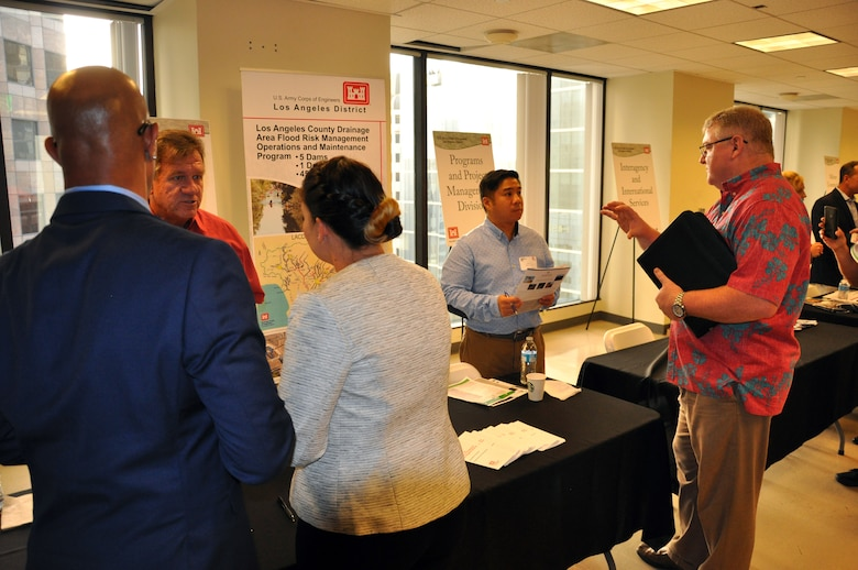 Business representatives share their capabilities with U.S. Army Corps of Engineers Los Angeles District program managers and discuss potential opportunities for doing business with the Corps at the annual Business Opportunities Open House Oct. 9 in the District's downtown LA headquarters.