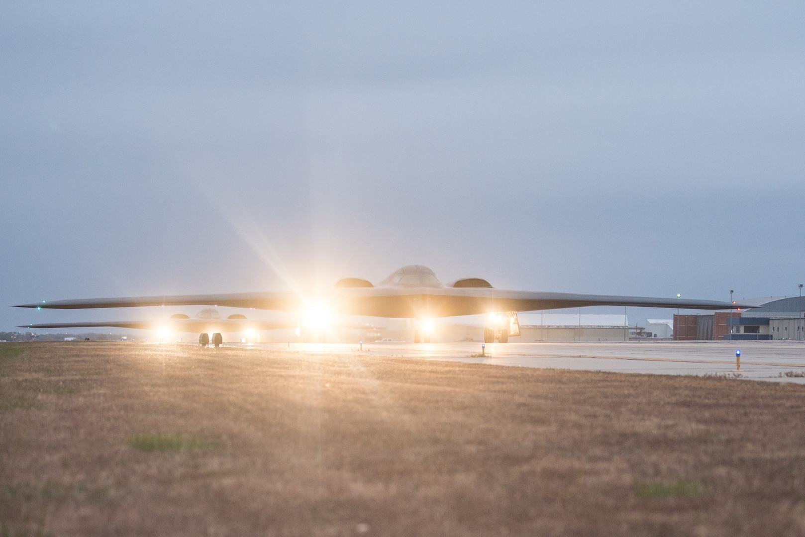 B-2 Spirit Bombers depart for a Bomber Task Force (BTF)mission, October 27, 2019. This BTF mission is part of Global Thunder 20, U.S.Strategic Command's annual nuclear command and control and field training exercise that enhances readiness.