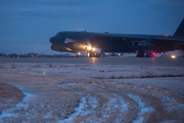 A B-52H Stratofortress aircraft takes off October. 27, 2019, for a Bomber Task Force mission in support of Global Thunder 20. Global Thunder is U.S. Strategic Command's annual nuclear command and control and field training exercise.