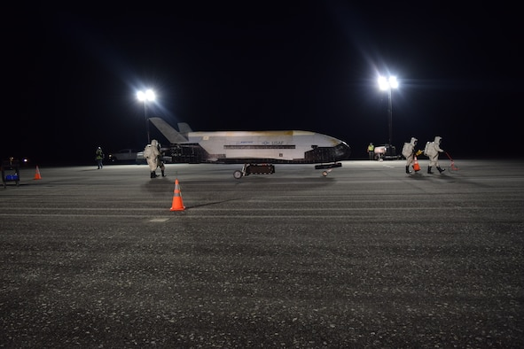 The Air Force's X-37B Orbital Test Vehicle Mission 5 successfully landed at NASA's Kennedy Space Center Shuttle Landing Facility Oct. 27, 2019. The X-37B OTV is an experimental test program to demonstrate technologies for a reliable, reusable, unmanned space test platform for the U.S. Air Force. (Courtesy photo)