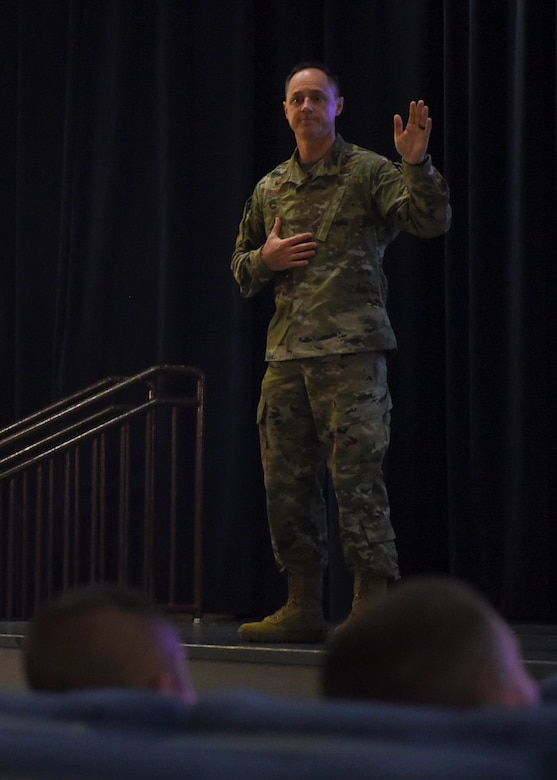 "U.S. Air Force Col. Tad Clark, 8th Fighter Wing commander, speaks to members of the Wolf Pack about innovation during a ""Wolf Call"" at Kunsan Air Base, Republic of Korea, Oct. 25, 2019. Operation Bolo, an innovative strategy used against the North Vietnamese military during the Vietnam War that helped the United States gain the upper hand during air combat. Operation Bolo serves as the inspiration for the Wolf Pack's enduring emphasis on innovation, Operation Be On the Lookout for Opportunity. (U.S. Air Force photo by Staff Sgt. Anthony Hetlage)"