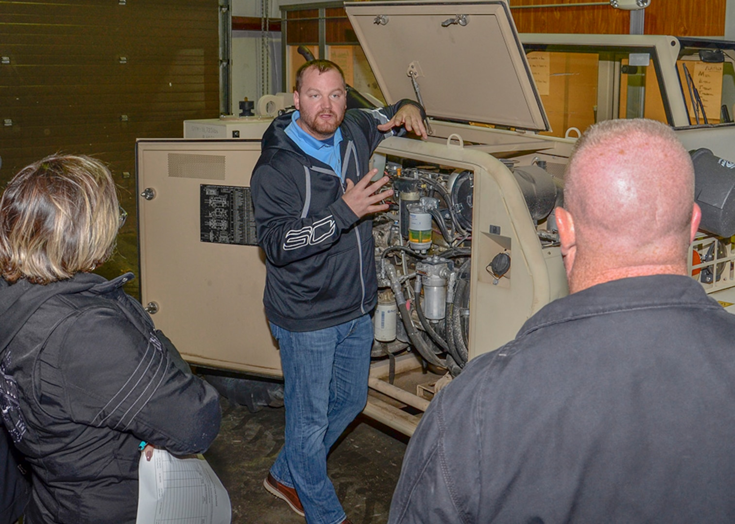 Tim Zweng instructs the instructors on proper material handling equipment preventative maintenance check procedures during the four-day MHE Safety Summit in Battle Creek, Michigan, Oct. 22-25.