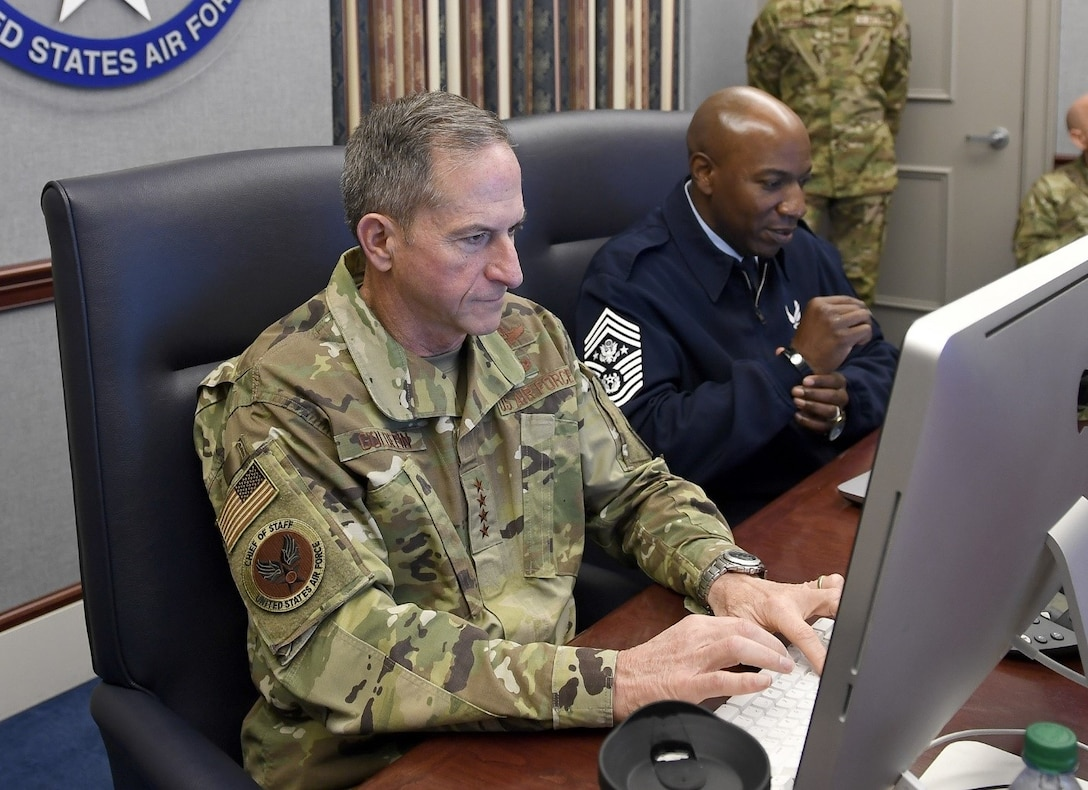 Air Force Chief of Staff Gen. David L. Goldfein and Chief Master Sergeant of the Air Force Kaleth O. Wright take part in a Reddit 'Ask Me Anything' session Oct. 24, 2019, at the Pentagon in Arlington, Va. (U.S. Air Force photo by Andy Morataya)