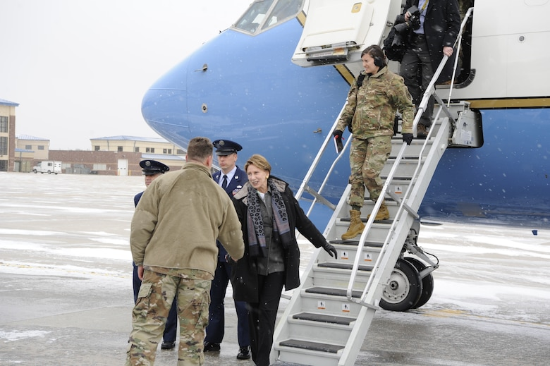 U.S. Air Force Col. Peter Bonetti, 90th Missile Wing Commander, welcomes Secretary of the Air Force Barbara Barrett at the 153d Airlift Wing, Wyoming Air National Guard Base, Cheyenne, Wyo., Oct. 27, 2019. This visit marks Barrett's first official visit since becoming the SECAF.