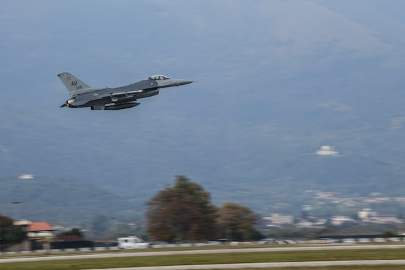A U.S Air Force F-16 Fighting Falcon from the 555th Fighter Squadron takes flight at Aviano Air Base, Italy, Oct. 24, 2019. The unit performs air and space control and force application roles of counterair, strategic attack, and counterland including interdiction and close-air support in support of the joint, NATO, and combined operations. (U.S. Air Force photo by Airman 1st Class Ericka A. Woolever).