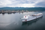 USNS Comfort anchored off the coast of Kingston, Jamaica.