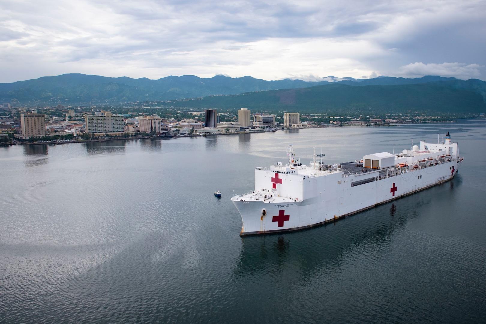 USNS Comfort anchored off the coast of Kingston, Jamaica.