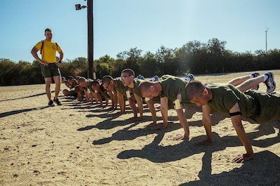WEEKLY TOP SHOT! TOP SHOT WINNER! You voted and we listened, here is this week's Top Shot Winner.  Recruits with Golf Company, 2nd Recruit Training Battalion, execute push-ups during a physical training session at Marine Corps Recruit Depot San Diego, Oct. 21, 2019. Every station challenged recruits to put forth maximum effort to get the most out of each exercise. (U.S. Marine Corps photo by Lance Cpl. Grace J. Kindred)