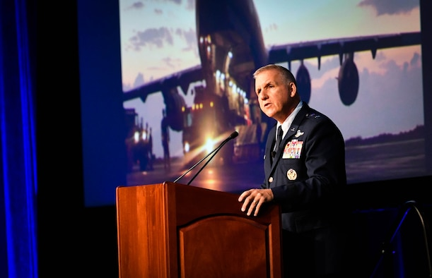 Maj. Gen. John Flournoy Jr., Air Force Reserve Command deputy commander, gives the keynote address at the Airlift/Tanker Association's annual conference in Orlando, Florida, Oct. 25. He spoke about the Air Force Reserve's contribution in military operations throughout history from the Korean War to present day global operations. (U.S. Air Force photo by Staff Sgt. Michael Cossaboom)