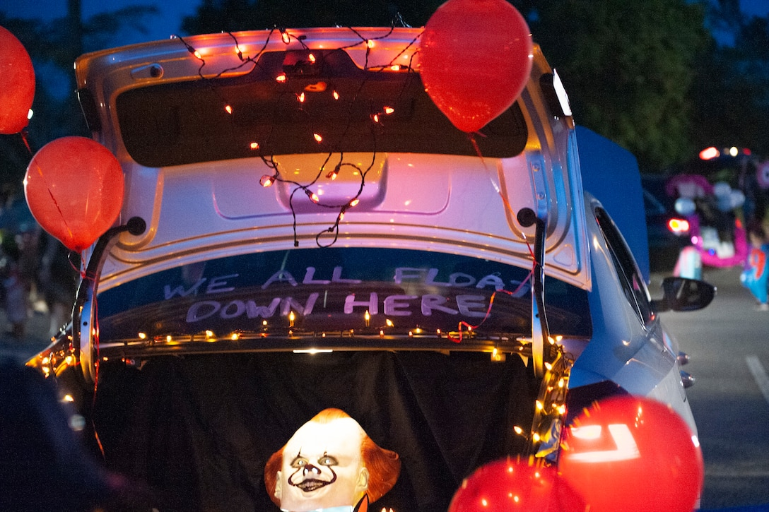 A decorated trunk sits open for Trunk or Treat Oct. 25, 2019, at Moody Air Force Base, Ga. Participants, dressed in costumes, received candy from volunteers, who decorated their trunks. (U.S. Air Force photo by Airman 1st Class Jasmine M. Barnes)