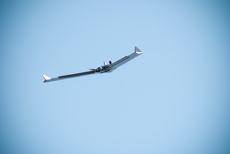 The senseFly eBee X fixed-wing unmanned aircraft system takes to the air just outside the U.S. Army Engineering and Support Center, Huntsville, Alabama, during a preliminary survey flight Oct. 1, 2019.