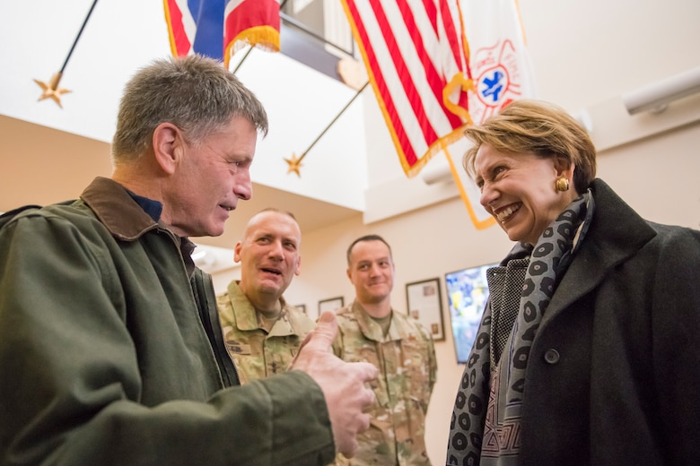 Wyoming Governor Mark Gordon welcomes Secretary of the Air Force Barbara Barrett at the 153d Airlift Wing, Wyoming Air National Guard Base, Cheyenne, Wyo., Oct. 27, 2019. This visit marks Barrett's first official visit since becoming the SECAF.