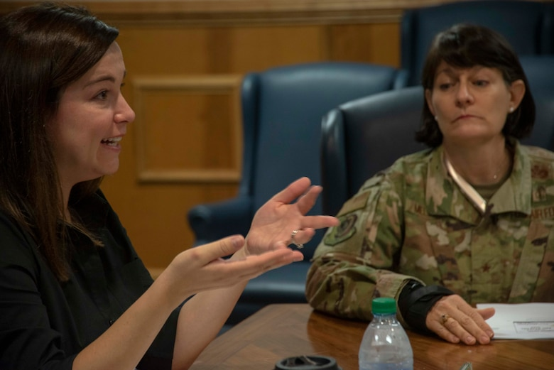 Michelle Dominguez, Clerk, Senate Appropriations Committee-M, left, and Brig. Gen. Patrice Melancon, Executive Director, Tyndall Program Management Office, right, attend a 325th Fighter Wing Hurricane Michael recovery and rebuild update on Oct. 28, 2019, at Tyndall Air Force Base, Florida. Dominquez, along with other professional staff members, received a briefing from Col. Brian Laidlaw, 325th FW commander, regarding the progress Tyndall has made since the devastation caused from Hurricane Michael in 2018. Laidlaw said the base is back to having 90 percent of the missions, conducted by 80 percent of the personnel, utilizing 50 percent of the facilities. (U.S. Air Force photo by Staff Sgt. Magen M. Reeves)