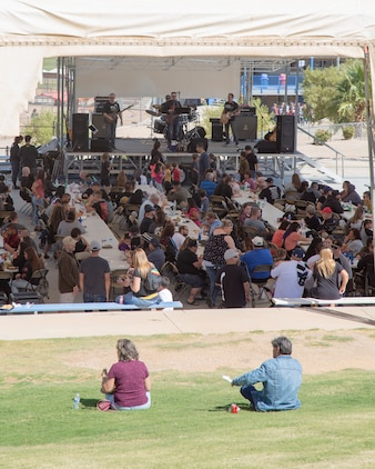 Members of the classic rock band Red Rabbit entertain attendees of the Production Plant Barstow Employee Recognition Day celebration held at the Robert A. Sessions Memorial Sportspark, Barstow, California, Oct. 12.