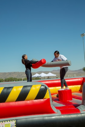 Employees and their guests from Production Plant Barstow, Marine Depot Maintenance Command aboard Marine Corps Logistics Base Barstow, enjoy a variety of games during Employee Recognition Day held at the Robert A. Sessions Memorial Sportspark Barstow, California, Oct. 12.