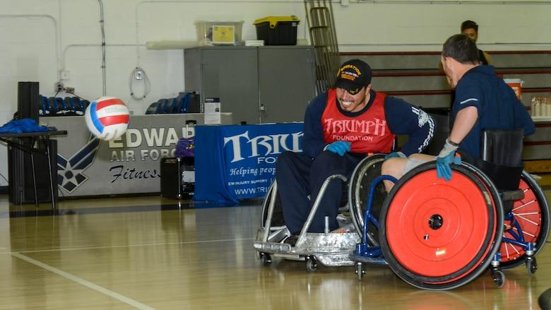 Jose Reynoso, Paralyzed Veterans of America, California Chapter Vice President, goes after a lose ball during a wheelchair rugby demonstration at Edwards Air Force Base, Oct. 24. (U.S. Air Force photo by Giancarlo Casem)