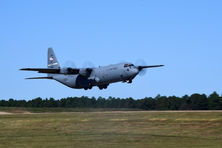 A U.S. Air Force C-130 Hercules aircraft from Little Rock Air Force Base, Arkansas, departs Geronimo Landing Zone during a mission in support of exercise Green Flag Little Rock, Oct. 23, 2019, Fort Polk, Louisiana. The primary objective of the exercise is to support the Joint Readiness Training Center and provide the maximum number of airlift crews, mission planners and ground support elements to a simulated combat environment with emphasis on joint force integration. (U.S. Air Force photo by Tech. Sgt. Liliana Moreno)