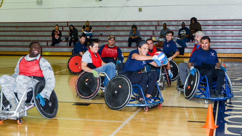 Team Edwards personnel participated in a game of wheelchair rugby at Edwards Air Force Base, California, Oct. 24. The game was a demonstration headed by the Triumph Foundation, a non-profit organization, in support of the base's observance of National Disability Employment Awareness Month. (U.S. Air Force photo by Giancarlo Casem)