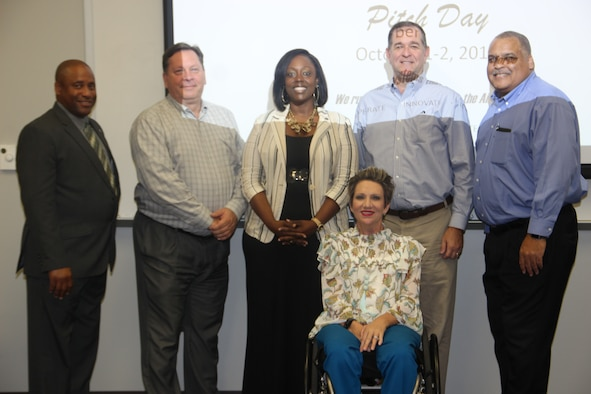 """Pictured left to right, Pitch Day Lead Personnel and Panel Members, Artis Clayton, David Sampson, Angela Peterson-Washington, Alexia """"Paige"""" Zukowski,  John Hulsey, and Toy Robinson.  Not pictured: Tanya Lambert (Panel Member). (Courtesy photo)"""