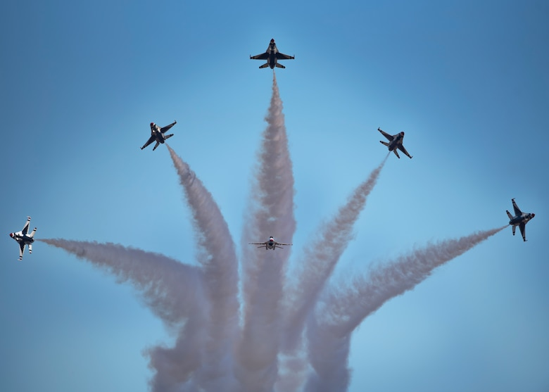 The U.S. Air Force Thunderbirds perform at the Sheppard Air Force Base Guardians of Freedom Air Show at Sheppard Air Force Base, Texas, Oct. 26, 2019. Millions of people have witnessed the Thunderbirds demonstrations, and in turn, they've seen the pride, professionalism and dedication of hundreds of thousands of Airmen serving at home and abroad. (U.S. Air Force photo by Airman 1st Class Pedro Tenorio)