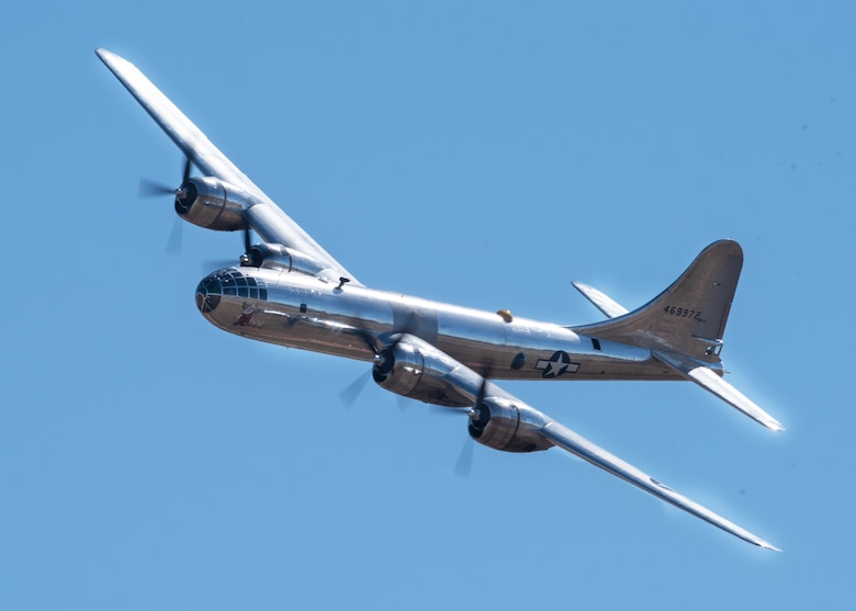 Doc's B-29 Superfortress performs at the Sheppard Air Force Base Guardians of Freedom Open House and Air Show at Sheppard AFB, Texas, Oct. 26, 2019. Doc is one of the 1,644 B-29s manufactured in Wichita during World War II. Over the past 15-plus years, hundreds of volunteers have worked on Doc and the restoration project. (U.S. Air Force photo by Airman 1st Class Pedro Tenorio)