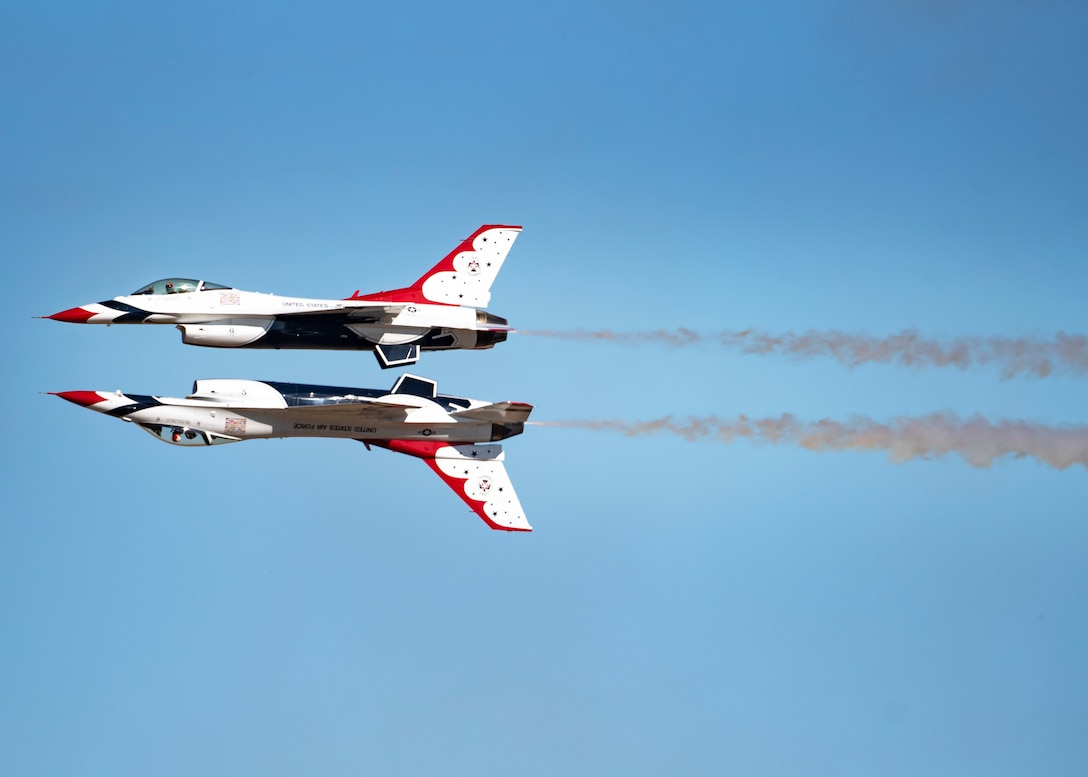 The U.S. Air Force Thunderbirds perform at the Sheppard Air Force Base Guardians of Freedom Air Show at Sheppard Air Force Base, Texas, Oct. 26, 2019. Each year brings another opportunity for the team to represent those who deserve the most credit: the everyday, hard-working Airmen voluntarily serving America and defending freedom. (U.S. Air Force photo by Airman 1st Class Pedro Tenorio)