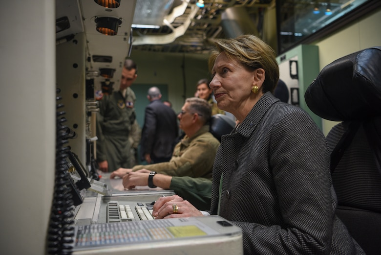 Secretary of the Air Force Barbara Barrett and Gen. Timothy Ray, Air Force Global Strike commander, sit at a mock launch control center, at F.E. Warren Air Force Base, Wyo., on Oct. 27, 2019. Barrett was briefed on the extent on F.E. Warren's many missions including its extensive missile mission.