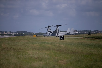 Six MV-22 Osprey from Marine Medium Tiltrotor Squadron 265 prepare for departure. Marine Aircraft Group 36 conduct a rapid deployment exercise on Oct. 23, 2019 in Okinawa, Japan and the Indo-Pacific region. This type of realistic training is used to highlight an active posture of a ready force and is essential to maintaining the readiness needed to uphold our commitments to our allies and surrounding nations. (U.S. Marine Corps photo by Lance Cpl. Madeline Jones)